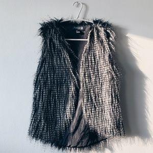 Forever 21 Black and White Fur Vest